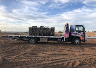 Large buckets for excavators, loaded on a Tilt tray truck being transported from the manufacturers depot to the mid north of South Australia