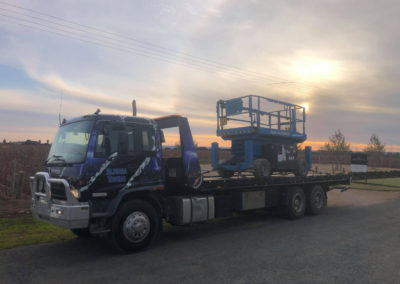 Over sized load heavy towing of large rotary tower trailer in Adelaide Hills