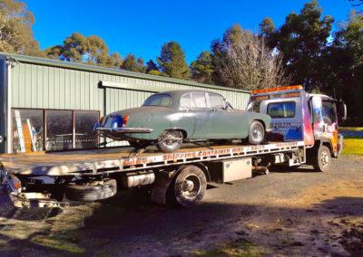 Towing a vintage car in Pt Elliott