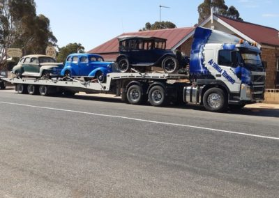 Towing three vintage cars in Adelaide
